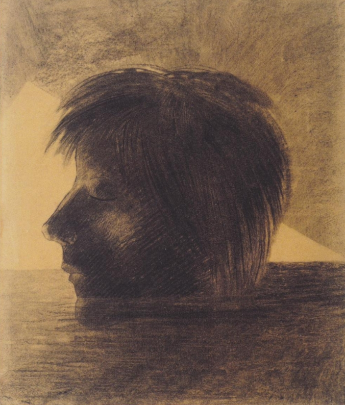 Head of Orpheus on the Water or the Mystic - Odilon Redon - 1880